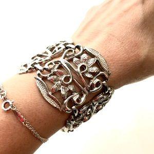 Vintage Wide Link Ornate Bracelet